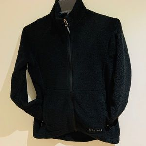 Marmot black fuzzy full-zip fleece sweater